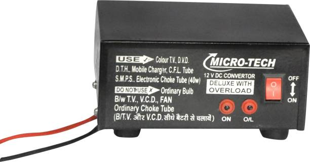 Microtech 12V DC to 220V AC Converter for UPTO 100 W Load Worldwide Adaptor
