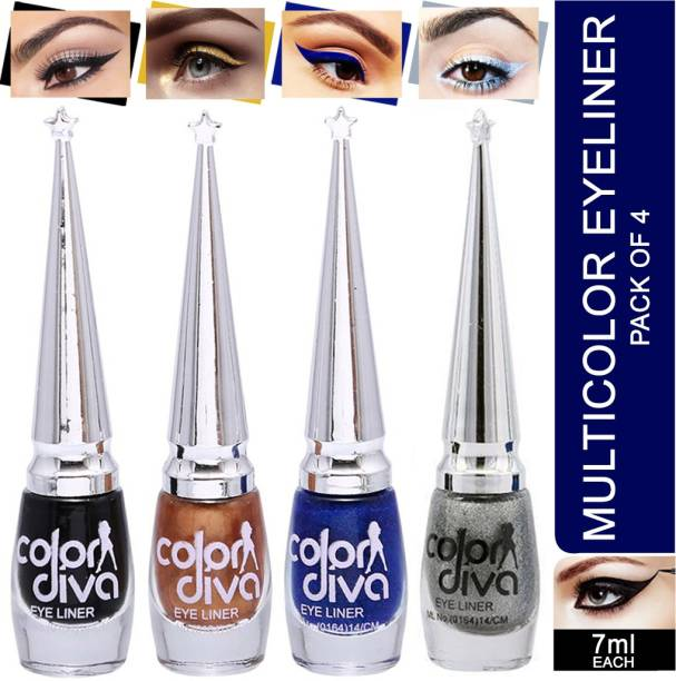 Color Diva Eyeliner (Black, Blue, Golden, Silver) Pack of 4 28 ml