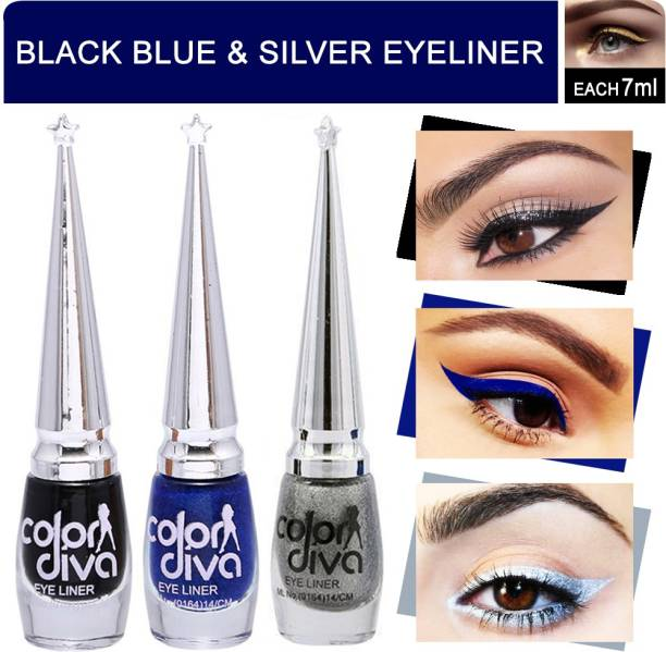 ColorDiva Eyeliner Black, Blue, Grey Pack of 3 21 ml