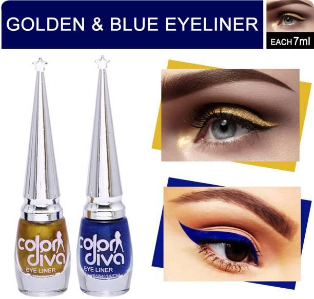 Color Diva Eyeliner (Blue & Golden) Pack of 2 14 ml
