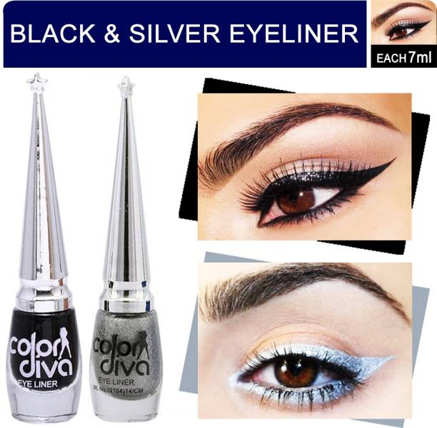 Color Diva Eyeliner (Black & Silver) Pack of 2 14 ml