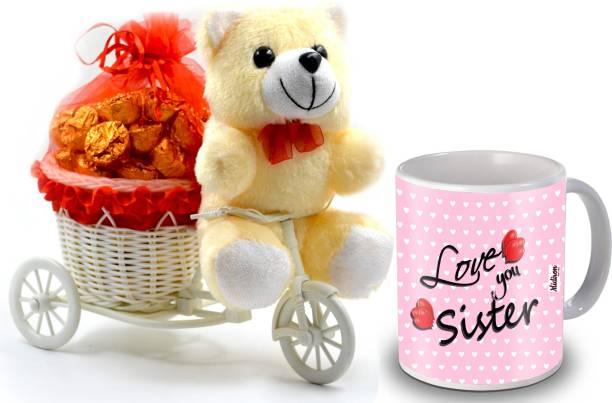 Midiron Sweet Gifts Pack for Sister on Her Birthday, Anniversary, Rakhi, Rakshabandhan, Bhaidooj and any other special ocassion IZ19CyChoco20TCMU-DTSister-048 Ceramic, Plastic Gift Box