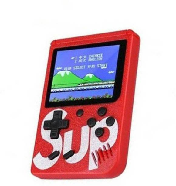 blue seed Red Color Games SUP 400 in 1 Games Retro Game Box Console Handheld Game PAD Gamebox 8 GB with Mario, Super Mario, DR Mario, Contra, Turtles, and other 400 Games