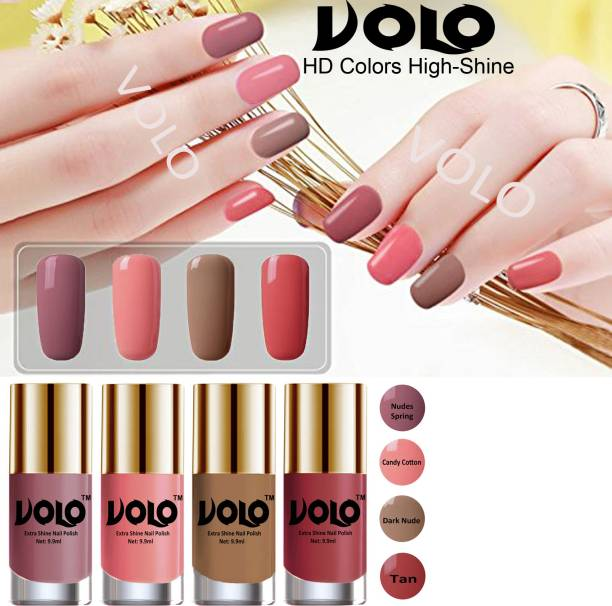 Volo HD Colors High-Shine Long Lasting Non Toxic Professional Nail Polish Set of 4 Tan, Dark Nude, Nudes Spring, Candy Cotton