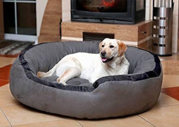 Hiputee Soft Velvet Reversible Round Grey Dog/Cat/Pet Bed Large L Pet Bed