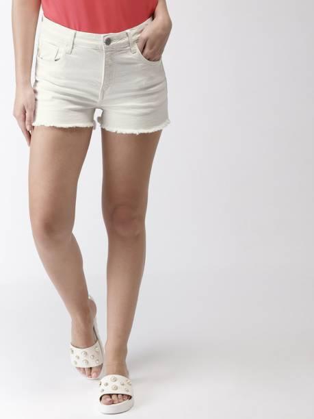 MAST & HARBOUR Solid Women White Denim Shorts