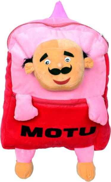 3G Collections Motu Pink Soft Toy Bag, Plush Bag, Teddy Bag For Age 2 to 7 School Bag