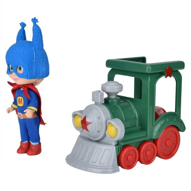 SIMBA Masha and The Bear - Masha Doll as Super Hero with Train