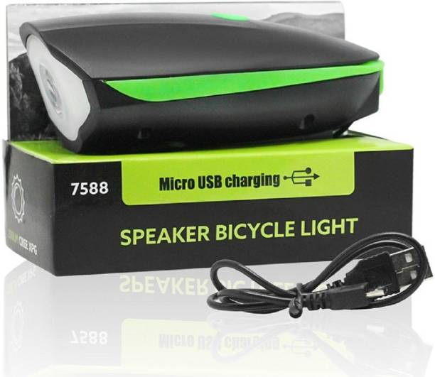 fabtec Bicycle USB Rechargeable 3 Mode LED Light and Horn LED Front Light