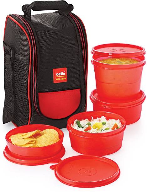 Cello Max Fresh Super Lunch Box 225ml, 4 Pieces, Red 4 Containers Lunch Box 1100 ml