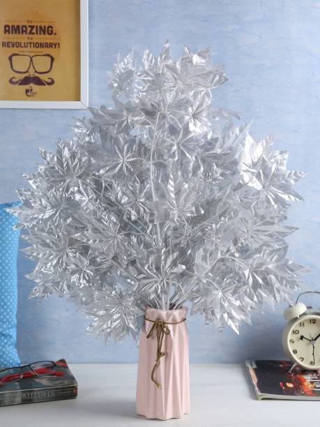 FOURWALLS UV Protected Artificial Polyester and Plastic Maple Stem ( 60 cm Tall, Silver, Set of 8) Artificial Plant