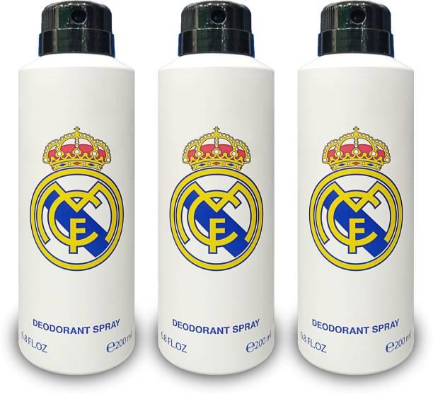 Real Madrid WHITE DEODORANT Pack of 3 FOR UNISEX Deodorant Spray  -  For Men & Women