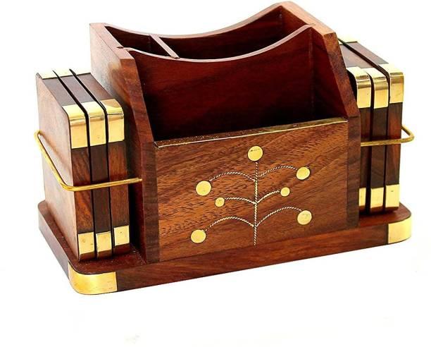 UniqueKrafts 3 Compartments Wooden Handmade Wooden Desk Organizer