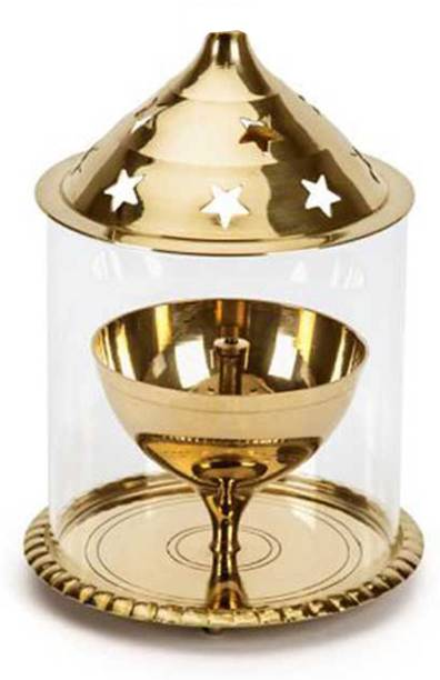 Heaven Decor Golden Akhand Diya Small Brass Table Diya