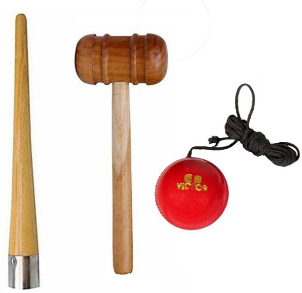 L'AVENIR Premium Hanging Practice/Training Ball, Grip Cone & Wood Mallet Cricket Kit