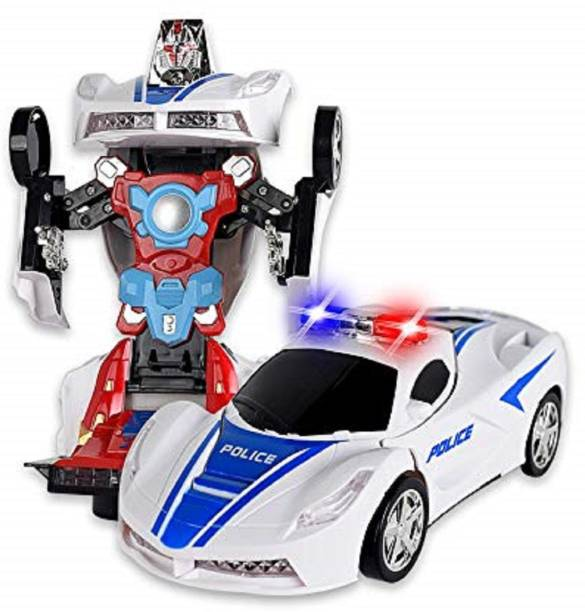 NV COLLECTION kids Transformer Police Robot Car with Light & Music