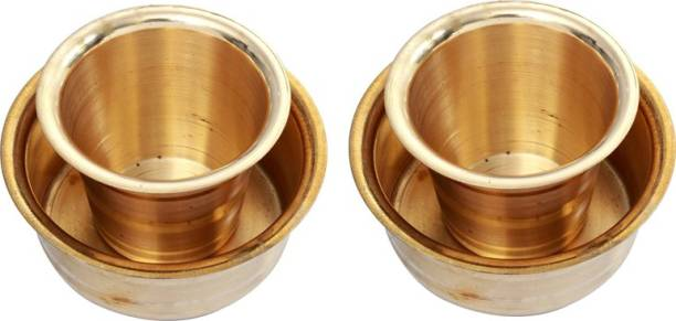 E handicrafts Special South Indian Coffee Brass Filter Handmade Tumbler Cup Combo 2 Cup Tray Serving Set
