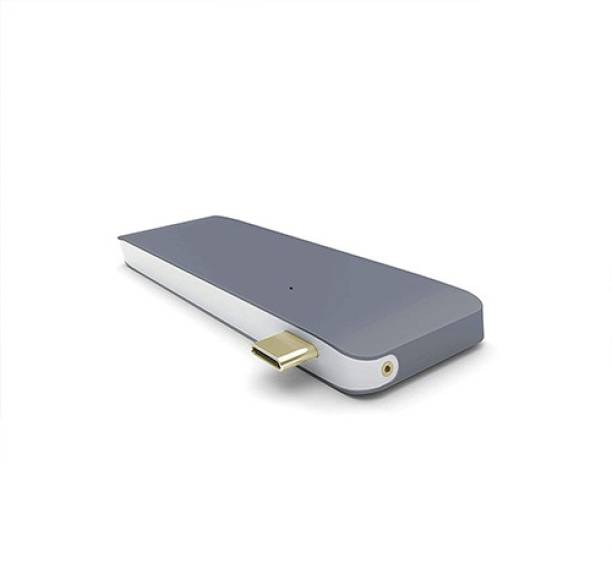 """Power Up Powerup Thunderbolt 5 in 1, Aluminum USB Type-C Hub Adapter Dongle 50Gbps for 2016-2018 MacBook Pro 13""""&15"""" & More Type C Devices, USB-C Data, 3 USB 3.0 and SD/Micro Card Readers (Space Grey) USB Adapter"""