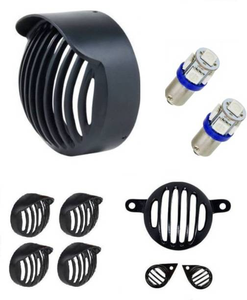 Adino Plastic Edition bullet classic Bike Headlight With Parking Bulbs Bike Bike Headlight Grill