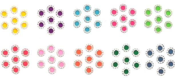 sj collection White Crystal Stone Round Shape ( Height 9 mm x Width 9 mm ) 70 Forehead Multicolor Bindis