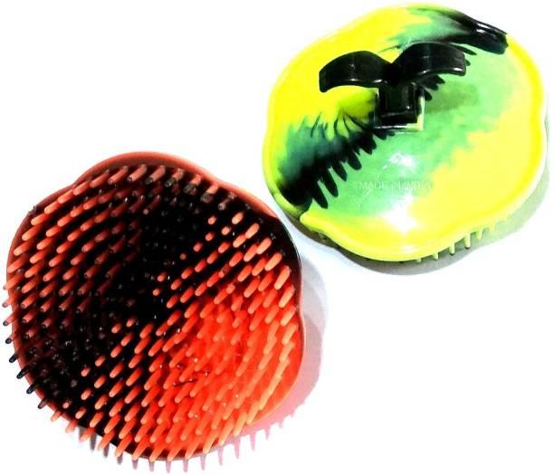 nawani Portable Pocket Hair Comb Set of Fingers Small Round Hair Brush Shampoo Brush Scalp Massage Comb (Pack of 2) Size- 8/5 cm