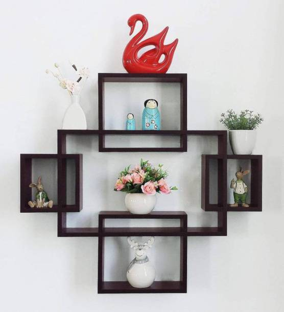 Artesia Wall Mount Set of 5 Storage Wall Shelves Rack Shelves Wooden Wall Shelf