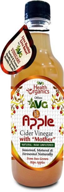 AVG Health Organics Apple Cider Vinegar - With Mother, Raw, Natural, Unfiltered, Unpasteurized Vinegar