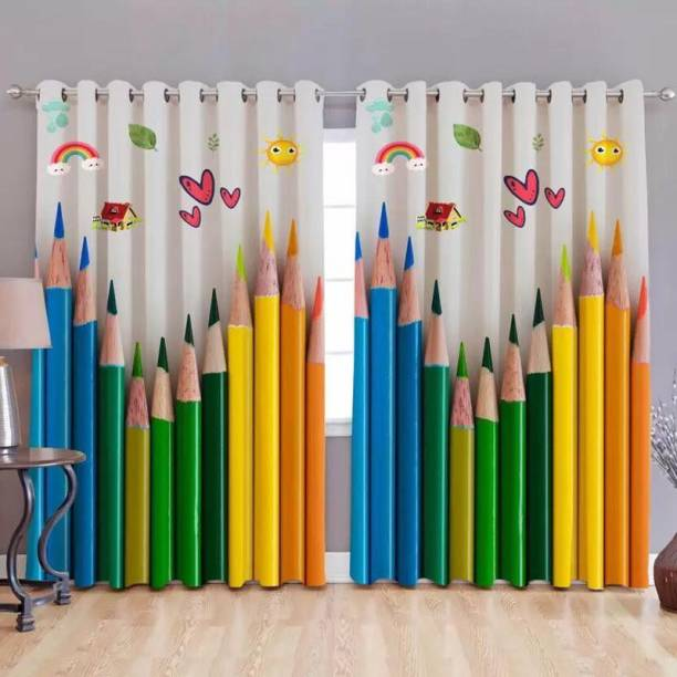 Inovamall 152.4 cm (5 ft) Polyester Window Curtain (Pack Of 2)