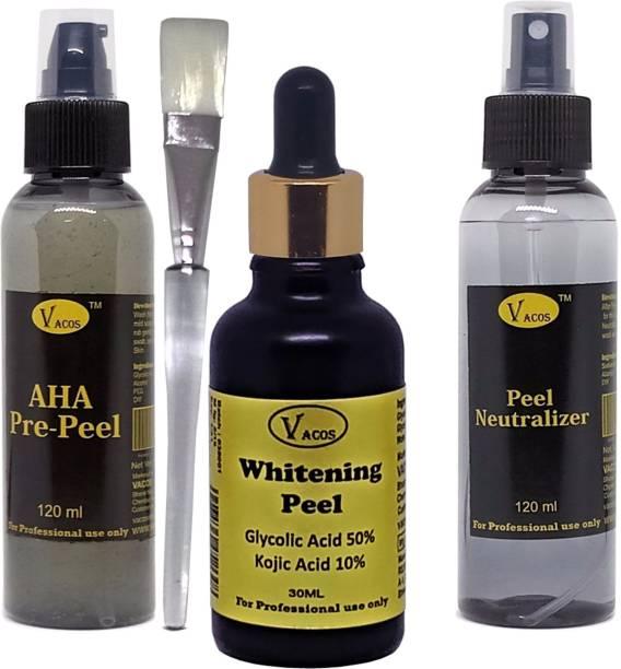 VACOS Whitening Peel 30 ml, Glycolic Acid, 50%, Kojic Acid 15%, with Pre Peel , Neutralizer, Brush