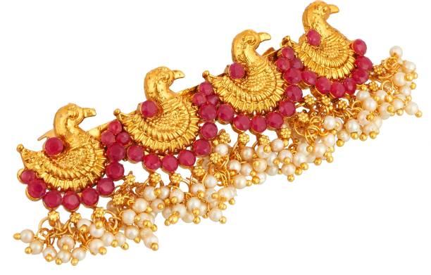 APARA Ruby Traditional Bridal Hair Clip Accessories Pearl Jewellery Hair Clip