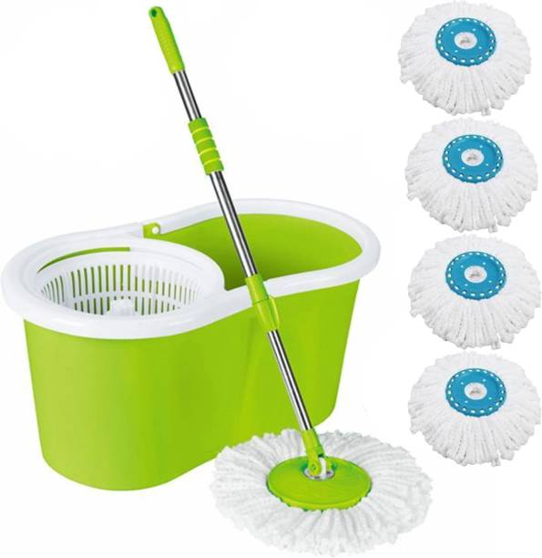 V-MOP Classic Magic Dry Bucket Mop - 360 Degree Self Spin Wringing Mop Set, Duster, Bucket, Mop, Cleaning Wipe