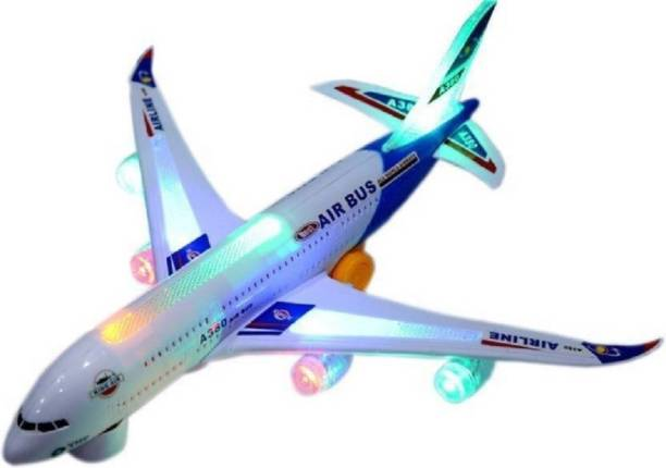 Collectionmart A380 Electric Aeroplane Toy With Lights And Sound, Bump And Go Action Toy Plane (Multicolor)