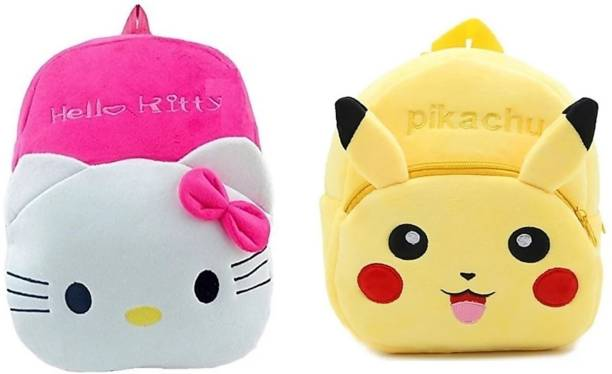 3G Collections Pikachu And kitty Combo Teddy Bear Soft Toy Kids Plush Bag Waterproof School Bag