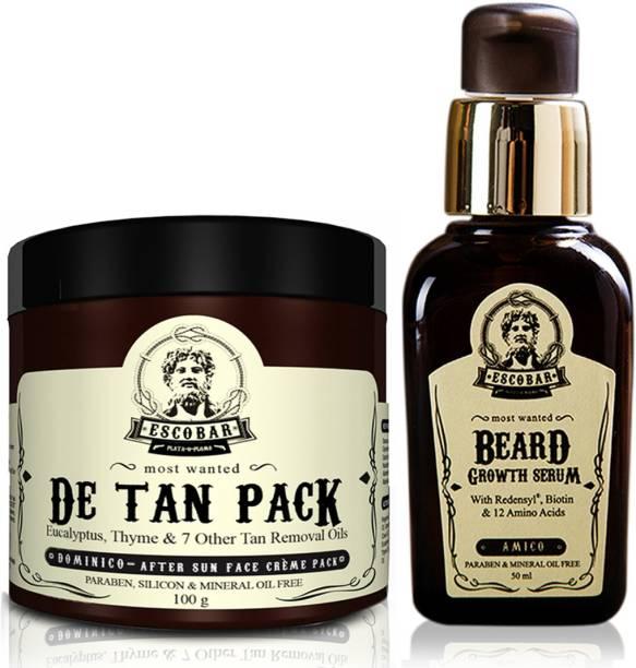 ESCOBAR Men's De Tan Pack and Beard Growth Serum.