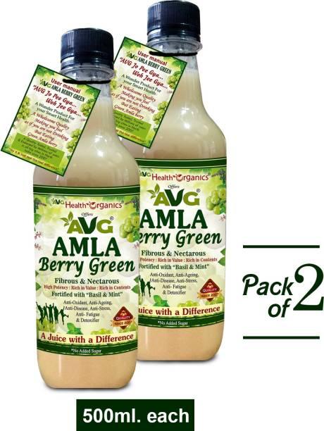 AVG Health Organics Amla Berry Green - Amla Juice, With Basil & Mint -Pack of 2