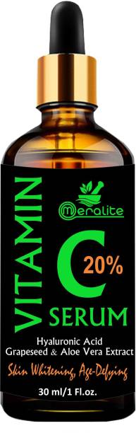Meralite Vitamin C Serum for face with Hyaluronic acid, Ascorbic acid, Aloe vera and Grape seed extract