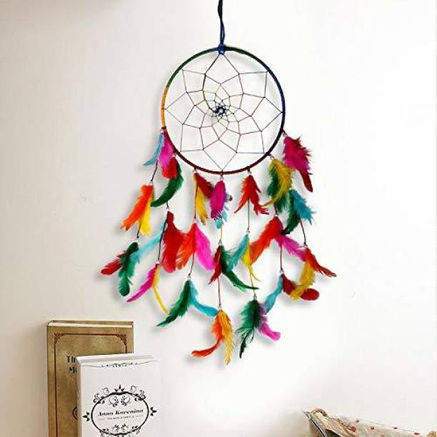 DULI Traditional Indian wall Art for Bedrooms, Home Wall, Hanging Design Wall Hanging Wool Dream Catcher