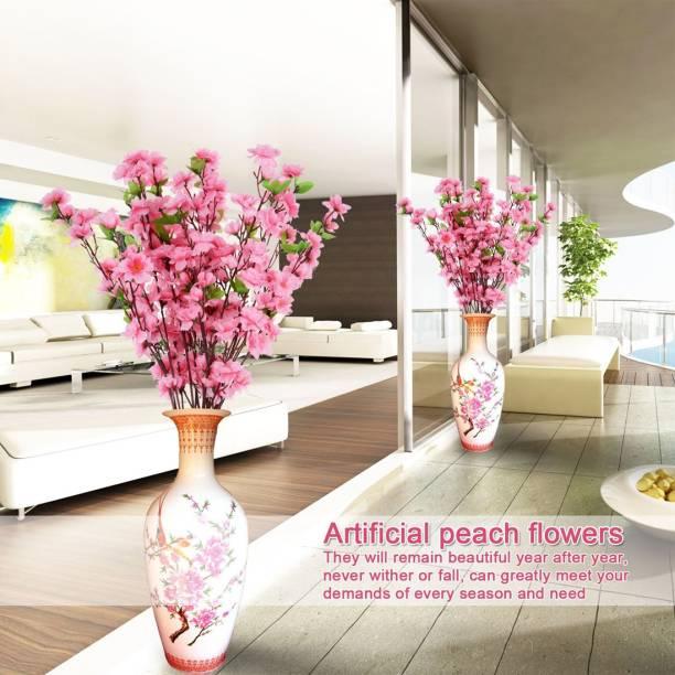 FOURWALLS Artificial Cherry Blossom Flower Sticks Pink Cherry Blossom Artificial Flower
