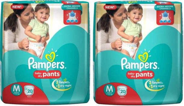 Pampers baby-dry Pants M 20+20 Pants Diapers - M (2 Pieces) - M