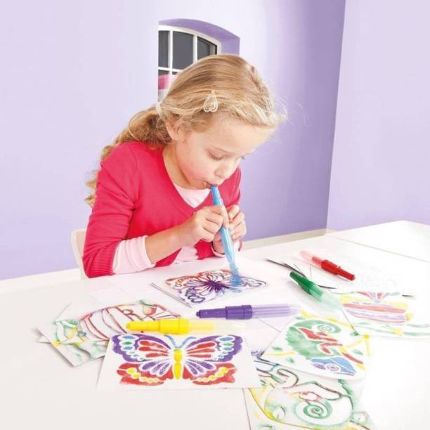 Galaxies 6 Color Spray Blow Pens with 3 Stencils for Kids & Children – Drawing Arts &
