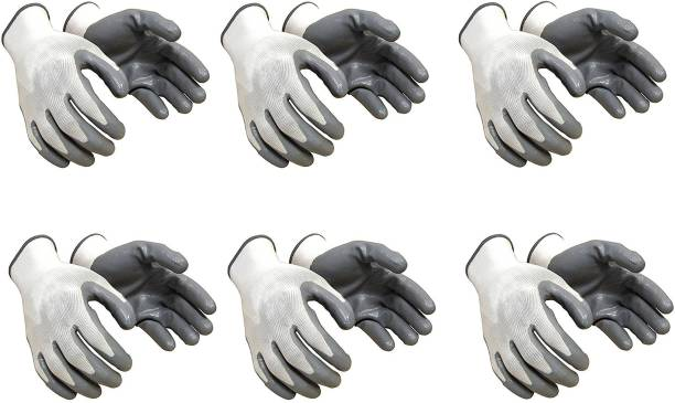 Yiking Anti Cut Hand Gloves pvc cotted 6 pair Nylon  Safety Gloves