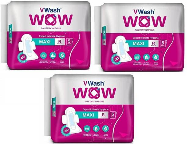 V Wash Wow Maxi Regular 5+5+5 Sanitary Pad (Pack of 3) Sanitary Pad