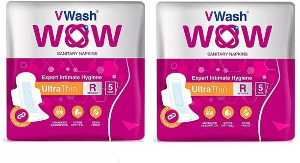 V Wash Ultra Thin Regular 5+5 Sanitary Pad (Pack of 2) Sanitary Pad