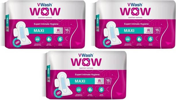 V Wash Wow Maxi regular 16+16+16 Sanitary Pad (Pack of 3) Sanitary Pad