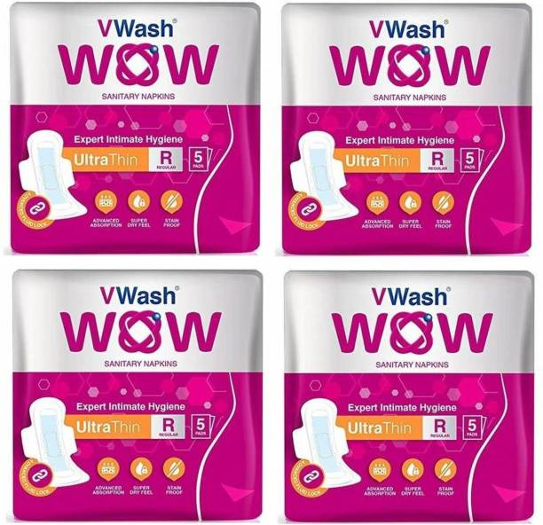 V Wash Ultra Thin Regular 5+5+5+5 Sanitary Pad (Pack of 4) Sanitary Pad