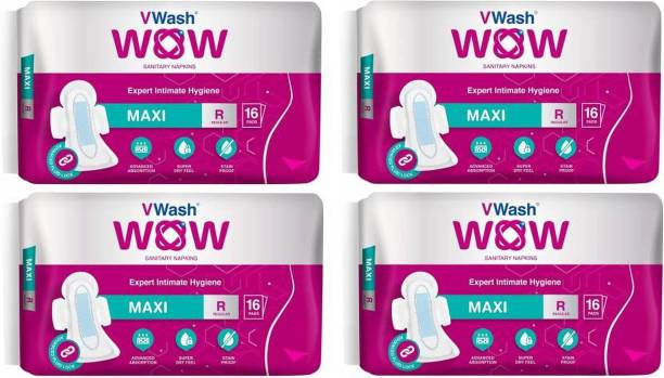 V Wash Wow Maxi Regular 16+16+16+16 Sanitary Pad (Pack of 4) Sanitary Pad