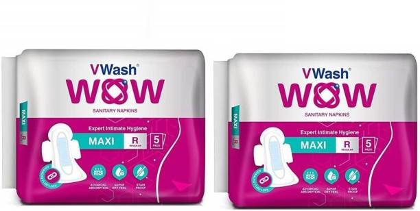 V Wash Wow Maxi Regular 5+5 Sanitary Pad (Pack of 2) Sanitary Pad