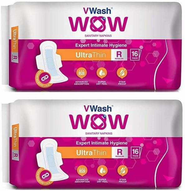 V Wash Wow Ultra Thin Regular 16+16 Sanitary Pad (Pack of 2) Sanitary Pad