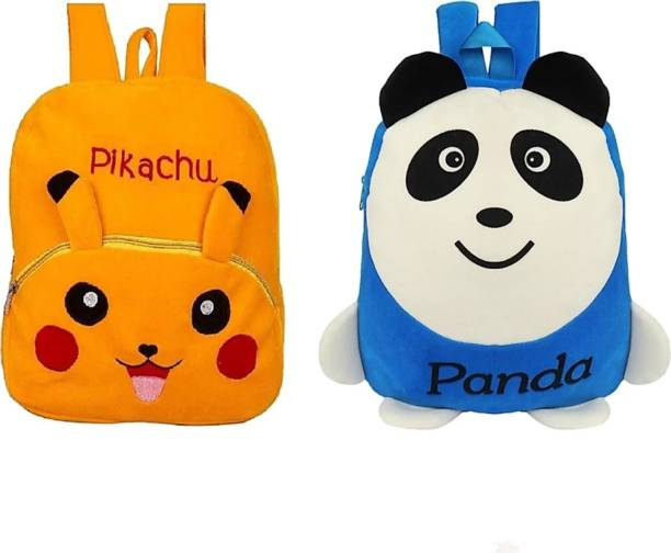 3G Collections Pikachu & L Panda Combo Teddy Bear Soft Toy Kids Plush Bag Waterproof School Bag