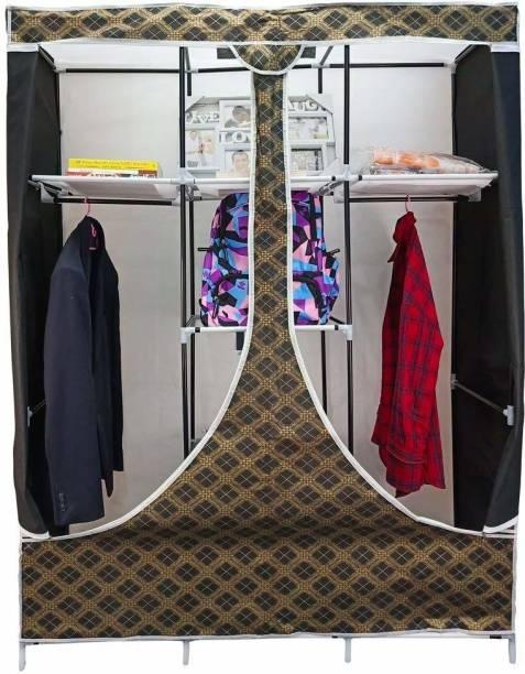 Hexzone Portable Multipurpose Foldable Storage Wardrobe 2 Doors Wardrobe (Black Squire) (128 * 45 * 168 cm) (130V8) Metal 2 Door Wardrobe